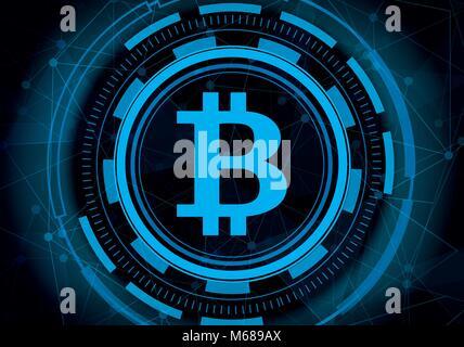 La technologie numérique abstrait avec bitcoin ligne arrière-plan. L'extraction des données Cryptocurrency bleu Banque D'Images