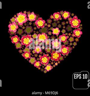 Coeur Fleurs Primrose sur fond noir. Valentine. L'amour. Effet 3d Banque D'Images