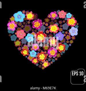 Et Primrose primula coeur fleurs sur fond noir. Valentine. L'amour. Effet 3d Banque D'Images