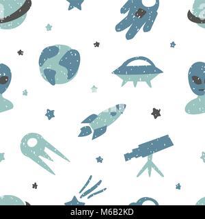 Transparente avec motif enfantin mignon les éléments d'espace. Texture créative pour tissu Banque D'Images