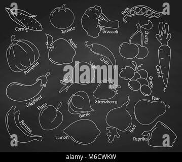 Ensemble d'icônes linéaire. Fruits et légumes sur le tableau. Vector illustration.
