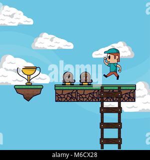 Paysage jeu pixélisé Banque D'Images