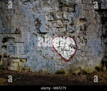 Je vous aime le graffiti sous le pont de la rivière à travers l'usure dans Durham Banque D'Images