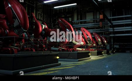 Une série rangée de grands robots rouge dans la force d'un fallout sur un piédestal dans l'atelier de nuit. Futuriste Banque D'Images