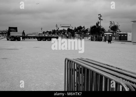 Noir et blanc général de Marseille, quartier de la Joliette, France Banque D'Images