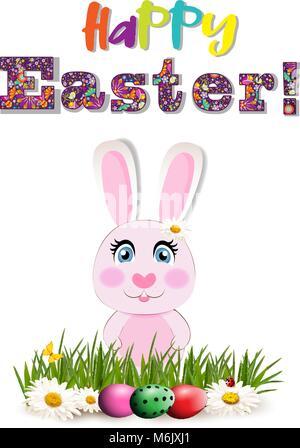 Joyeuses Pâques carte de souhaits avec le texte en couleur, cute cartoon lapin rose ou lapin assis parmi les oeufs Banque D'Images