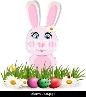 Cute cartoon lapin rose ou lapin assis parmi les oeufs teints lumineux sur l'herbe verte et de fleurs chimomile Banque D'Images