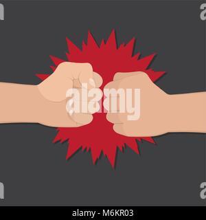 Deux poings serrés dans l'air poinçonnage. Vector illustration avec deux mains. Notion d'agression et de la violence. Banque D'Images