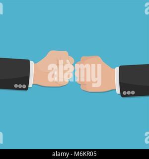 Deux poings serrés dans l'air poinçonnage. Vector illustration avec deux mains. Conflits d'affaires. Message d'affaires. Banque D'Images