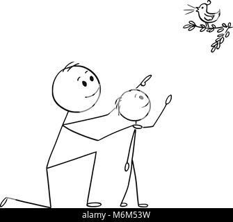 Caricature de père et fils regardant un oiseau sauvage dans la nature Banque D'Images