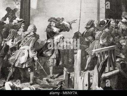 Louis XIV et les mousquetaires de la garde dans la citadelle de Valenciennes, France après 18 jours de siège en Banque D'Images