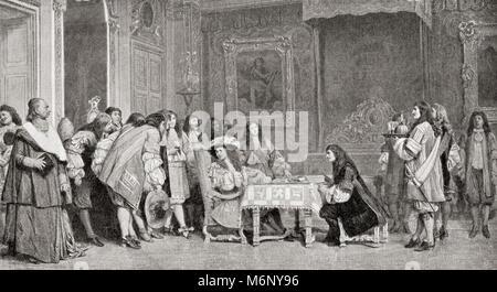Louis XIV et Molière, après la peinture de Jean-Léon Gérôme. Louis XIV, 1638 - 1715, alias Louis le God-Given, Louis Banque D'Images