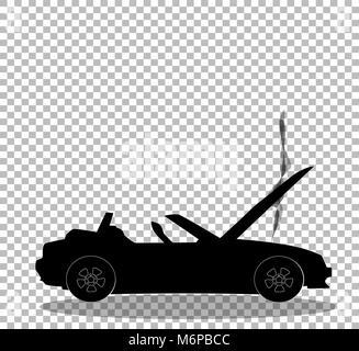 Silhouette noire du dessin anim voiture cabriolet ouvert moderne avec paire de ballons en forme - Accident de voiture dessin ...
