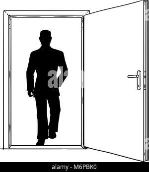 Caricature d'ouvrir la porte moderne et Businessman Walking par Banque D'Images