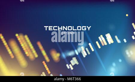 Arrière-plan de haute technologie. Grille neon glow wallpaper. La visualisation scientifique Banque D'Images