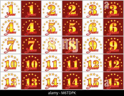 Ensemble de nombres d'or de 1 à 15 et la parole de l'année décoré avec un cercle d'étoiles. Vector illustration Banque D'Images