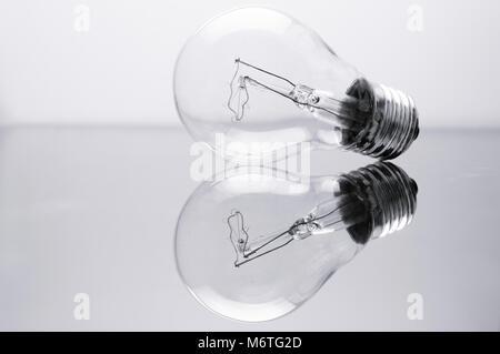 Ampoule et son reflet. Banque D'Images
