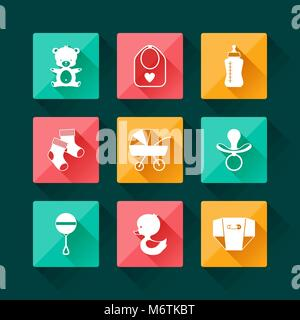 Bébé nouveau-né icons set dans un style design plat