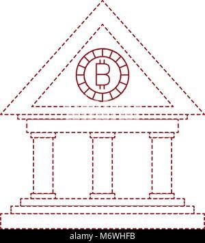 Bâtiment de la banque avec l'argent bitcoin Banque D'Images