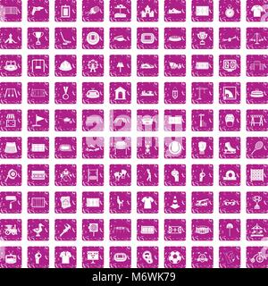 Aire 100 icons set rose grunge Banque D'Images
