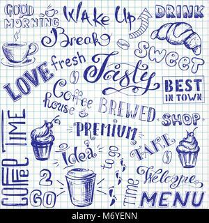 Vector illustration hand drawn doodle café à emporter, des tasses, des mugs, des haricots et des lettres types . Banque D'Images