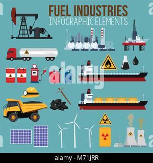 Un vecteur illustration de l'industrie du pétrole et du carburant Éléments Infographies Banque D'Images