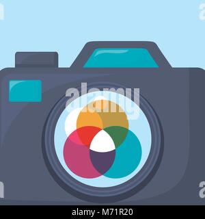 L'icône de caméra photographique sur fond bleu, un design coloré vector illustration Banque D'Images