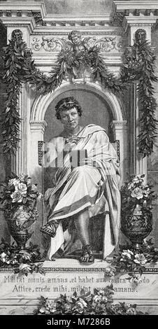 Publius Ovidius Naso ou Ovide, 43 BC - 17, un poète romain,