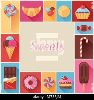 Châssis avec différentes couleurs de bonbons, des bonbons et des gâteaux Banque D'Images