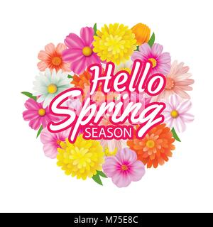 Bonjour printemps châssis circulaire carte de souhaits et de fleurs Décoration. Banque D'Images