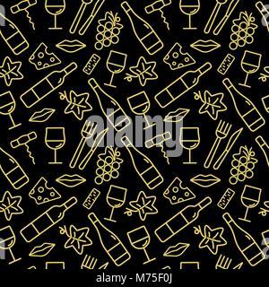 Modèle sans couture avec du vin d'icônes. Arrière-plan de cartes, décoration, spéciaux, web, bannières et modèles liés au vin. Vector illustration.