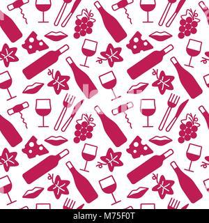 Modèle sans couture avec du vin et de la nourriture des icônes. Arrière-plan de cartes, décoration, spéciaux, web, bannières et modèles liés au vin. Vector illustration.