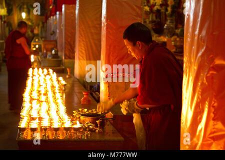 Moines bouddhistes tibétains l'étude de l'Ecriture sainte bouddhiste de Drepung, à Lhassa, Tibet, Chine, Asie Banque D'Images