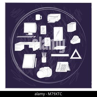 Fournitures de bureau sur fond noir, croquis design. vector illustration Banque D'Images