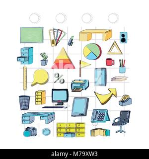 Fournitures de bureau autour sur fond blanc, design coloré. vector illustration Banque D'Images