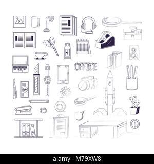 Fournitures de bureau autour sur fond blanc, croquis design. vector illustration Banque D'Images