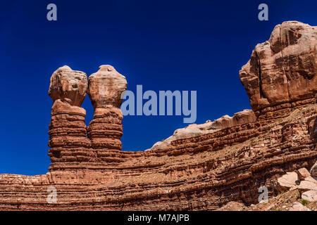 Les États-Unis, l'Utah, le comté de San Juan, Bluff, Navajo Twin Rocks Banque D'Images