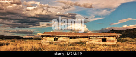 Les USA, Wyoming, Grand Tetons National Park, cabane en bois Banque D'Images