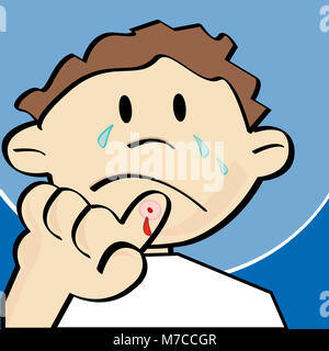 Close-up of a Boy crying et montrant son doigt blessé Banque D'Images