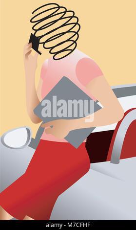 Businesswoman holding a mobile phone appuyé contre une voiture