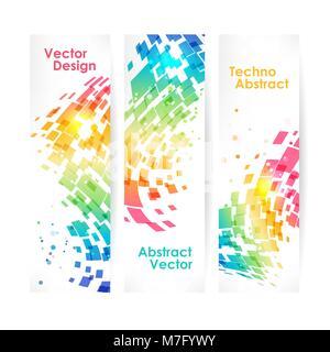 Résumé Contexte géométrique multicolore, ensemble de bannières Banque D'Images