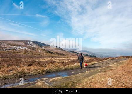 Femme dans un bobble hat marcher un petit chien de race de jouet dans un manteau rouge le long d'Ilkley Moor sur Banque D'Images