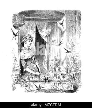 Nouveau Printemps, belle fille à la fenêtre avec une volée d'hirondelles Banque D'Images