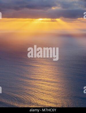 Coucher du soleil vu du Mirador de Guinate, Lanzarote, îles Canaries, Espagne Banque D'Images