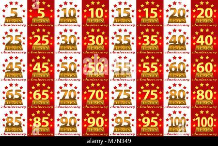 Série de numéros d'or pour marquer l'anniversaire. Vector Banque D'Images