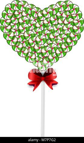 Lolipop vert et blanc coeur en bonbons et confiseries et borné avec arc rouge isolé sur fond blanc. Illustration Banque D'Images