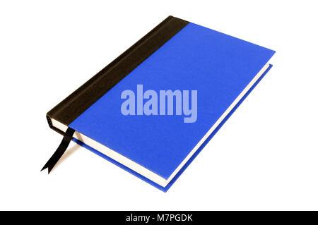 Album cartonné bleu et noir avec ruban signet isolé sur un fond blanc. L'espace pour copier. Banque D'Images