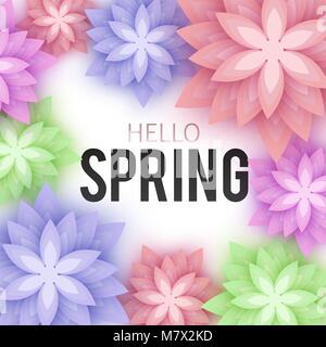 Bonjour, printemps, cartes florales Fleurs en papier. Bannière avec r Banque D'Images