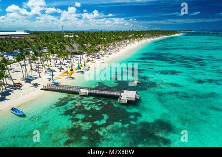 Drone aérien vue de Caribbean resort Bavaro, Punta Cana, République Dominicaine Banque D'Images