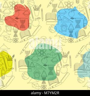 Étude des éléments de fournitures scolaires avec motif tache de couleur Banque D'Images